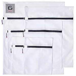 Xcelenze - Premium Wäschenetz für Waschmaschine Trockner, Wäschebeutel Set 6-teilig| Dessous, Feinwäsche Wäschesack mit Reissverschluss Kochfest | Wäscheschutz für empfindliche Wäsche Weiss