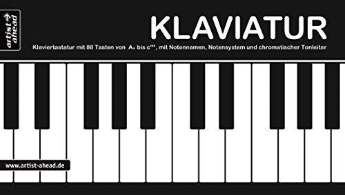 Klaviatur: Ausklappbare Klaviertastatur mit 88 Tasten von A'' bis c''''', mit Notennamen, Notensystem und chromatischer Tonleiter. Fingerübungen. Fingertraining. Lernhilfe für Piano.