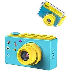 ShinePick Appareil Photo Enfants,Etanche Mini Caméra avec Carte TF / Zoom numérique 4X / 8MP / Écran LCD TFT de 2 Pouce Caméra Numérique pour Enfants (Bleu)