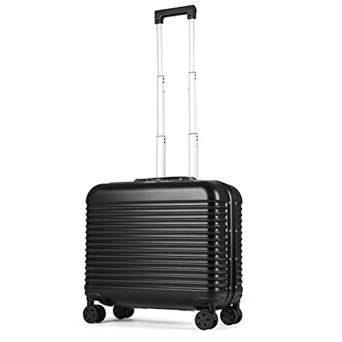 ECCORE Lightweight Alloy Hard Shell Suitcase Cabin Hand Luggage Trolley Carry On Rolling Luggage (43CM / 28L, Black)