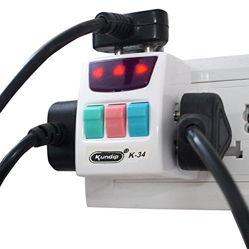 Kundip 3 Pin, 3 Socket, 3 Switch Universal Multi Plug with Indicator (10 Amp) - K-34  available at amazon for Rs.495