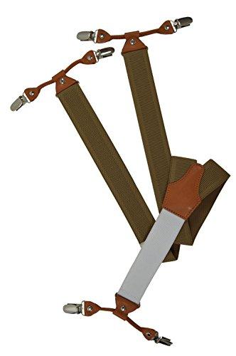 Bretelles Haute Qualite avec 6 Clips/Blanc Arrière et Cuir Beige - 3,5cm. Crème