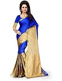 NV Trendz Women's Cotton Silk BLUE Saree For Women With Blouse Piece