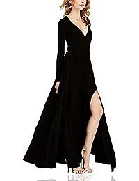 Dolamen Mujer Vestidos, Cuello en V Vestido de Mujer Vintage, Mangas largas y vestido largo, una línea de vestido de swing, perfecto para el partido y la boda cóctel