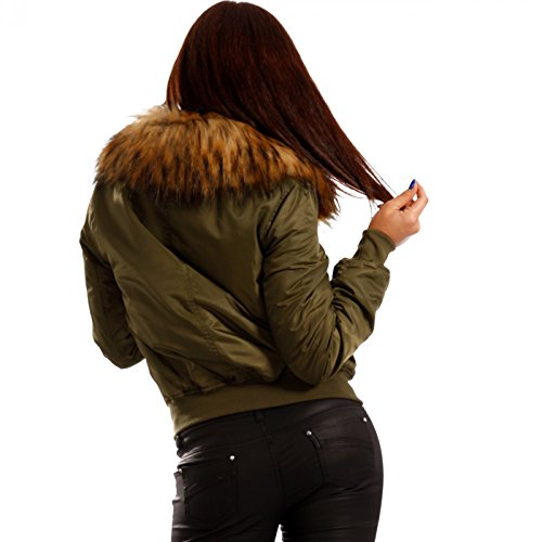 Young-Fashion - Blouson - Blouson - Uni - Manches Longues - Femme Kaki