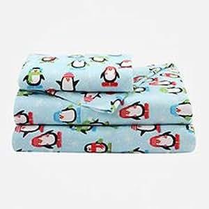Studio un Drap en flanelle Bleu à motif pingouins d'hiver pour lit de taille lit de feuilles