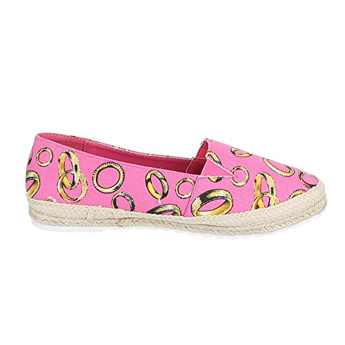 Damen Schuhe, S1720-1, HALBSCHUHE SLIPPER BALLERINAS Pink