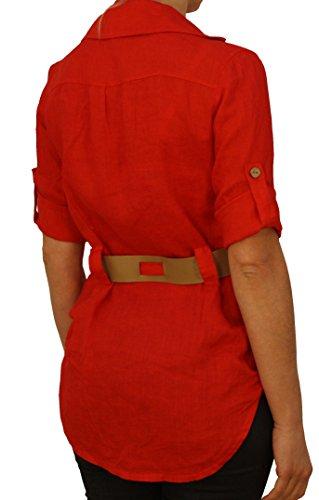 7207 Damen, Frauen Leinen Tunika, Bluse mit Gurt, 3/4 Arm, 100% Leinen, weiss, rot, rosa, gelb, beige. Rot