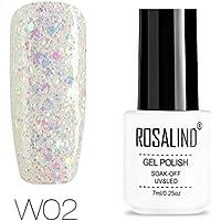 ROSALIND Esmalte semi-permanente de uñas de gel con purpurina de diamante, pintura de color súper brillante, para lámpara UV y LED