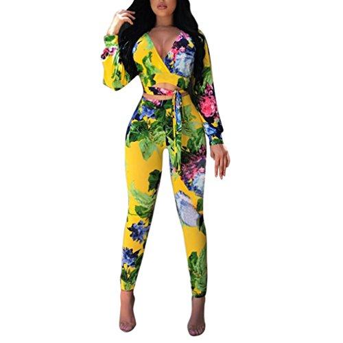 Rcool Dame Lange Ärmel Bedrucktes Hemd Top Bluse + Long Pants Zwei-teiliges Outfit (XL, Gelb)