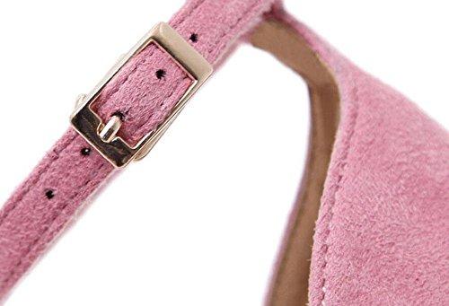 GLTER Donne Pumps Tacchi Aprire-Punta Penne Sandali con tacco peluche Hollow Scarpette Scarpe Pink