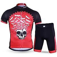 Pantalones de ciclismo Pantalones de montar en bic Conjunto de ropa de ciclismo para hombres Camiseta de jersey de manga corta transpirable de secado rápido + Pantalones cortos 3D XL rojo oscuro