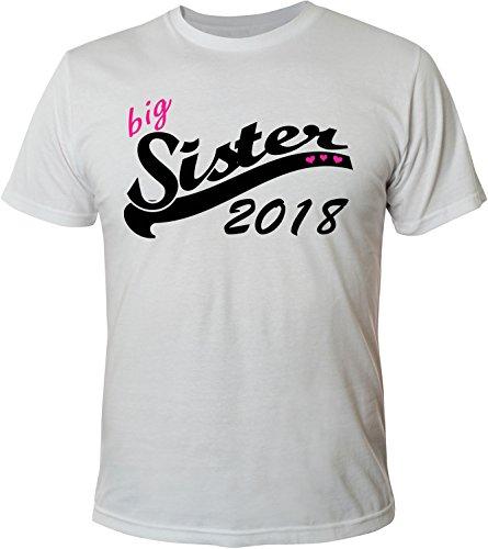 Mister Merchandise Herren Men T-Shirt Big Sister 2018 Tee Shirt bedruckt Weiß