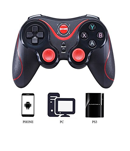 MallTEK Wireless Controller PS3 PC Smartphone Gaming Gamepad 2.4G / Bluetooth 2 Modes Gamepad Kabelloses für Android Smartphone / PC / PS3 / Smart TV / TV Box Spielkonsolen Joystick für Smartphone Sony Samsung huiwei etc mit Support (Schwarz + Rot) Wireless-gaming-controller