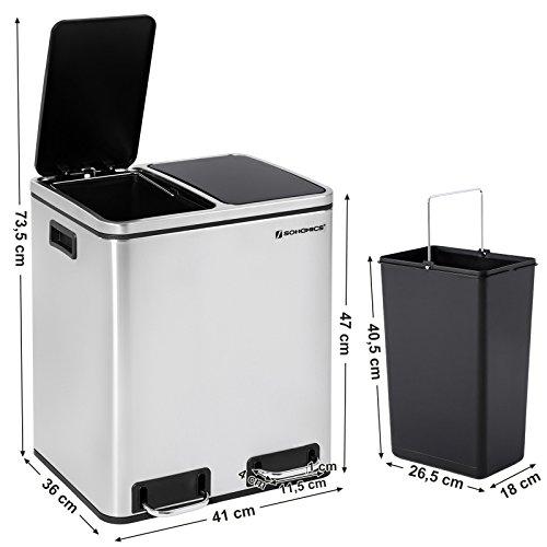 fe75b2ed546cd SONGMICS 30 L Mülleimer Mülltrennung Mülltrennsysteme mit 2 Inneneimern  Treteimer für Küche Edelstahl 2 x 15