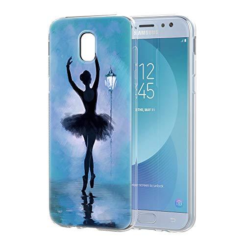 YOEDGE Cover Samsung Galaxy J5 2017, Antiurto Custodia Trasparente con Disegni [Ragazza Balletto] Ultra Slim Protective Case Bumper in TPU Silicone per Samsung Galaxy J5 2017 Smartphone(Blu)