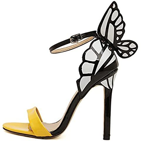 Bowtie Stiletto talón–SODIAL (R) Mujeres de personalidad boda Tacones mujer colorida mariposa Punta Toe sandalias de San Valentín lazo Fiesta Novia bombas zapatos Amarillo