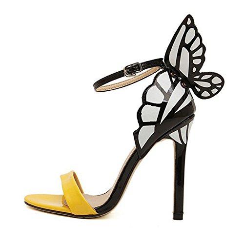 Bowtie Stiletto talón-SODIAL (R) Mujeres de personalidad boda Tacones mujer colorida mariposa Punta Toe sandalias de San Valentín lazo Fiesta Novia bombas zapatos Amarillo 39