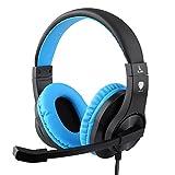 Samoleus 3,5mm Stereo Gaming LED Beleuchtung auf die Ohr Kopfhörer mit Micro für Spiel-Playstation 4PS4Computer PC mit Noise Cancelling & Volume Control Schwaz / Blau