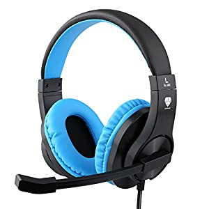 Kriogor Gaming Headset PS4 PC, 3,5 mm Klinke Gamer Headset mit Mikrofon, Blaues LED-Licht, Deep Bass Stereo und Noice…