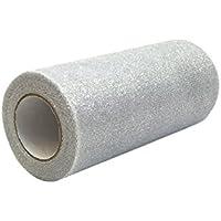 6pulgadas x 10yards purpurina cinta de tul rollo de tul carrete para DIY artesanía regalo, regalo, decoración, ropa, boda plata