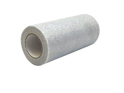 Tüll Glitter Silber (15,2cm X 10yards Sparkling Tüll Band Rolle Glitzer Tüll Spule für Heimwerker Craft, Geschenk Verpackung, Dekoration, Kleidung, Hochzeit silber)