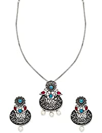 Zaveri Pearls Jewellery Set For Women (Silver) (ZPFK6320)