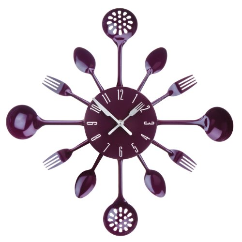 Premier Housewares Cutlery Wall Clock - Purple