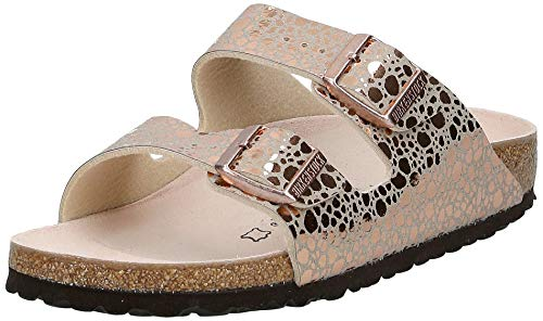 BIRKENSTOCK Damen Arizona Birko-Flor Sandalen, Braun (Metallic Stones Copper Metallic Stones Copper), 39 EU