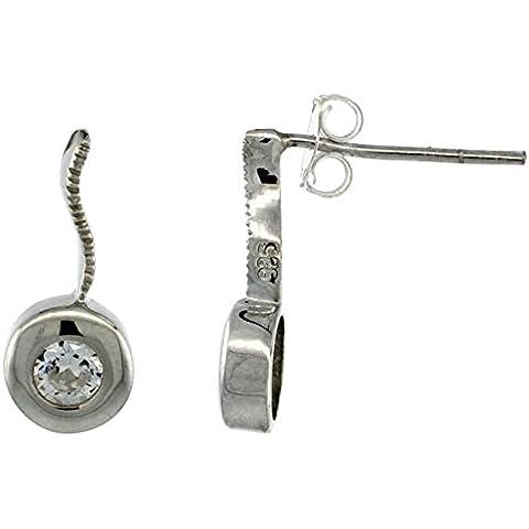 Revoni-Orecchini in argento con zirconia cubica rotonda 5/8 (in. 16 mm)