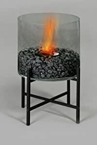"""Elegantes Terrassenfeuer BODO Höhe 45cm; Ø 29cm Dekokies in schwarz. -- Echtes Feuer ohne Rauch ohne Ruß für Bio-Alkohol - Indoor & Outdoor."""""""
