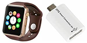 MIRZA Smart Watch & Smart OTG Adapter for HTC DESIRE 626+ DUAL SIM( Smart OTG Adapter & A1 Smart Watch Phone with Camera & SIM Card Support Hot Fashion New Arrival Best Selling Premium Quality Lowest Price with Apps like Facebook,Whatsapp, Twitter, Sports, Health, Pedometer, Sedentary Remind,Compatible with Android iOS Mobile Tablet-Assorted Color)