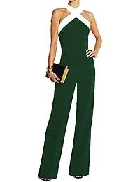 Ovender Tuta Elegante da Donna Pantaloni Lungo Jumpsuit Vestito Abito  Cerimonia Festa Casual 53f15ebb8fd