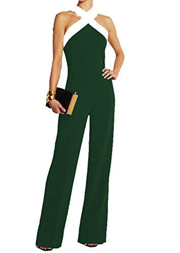 b462f72c4ccc2c Ovender Tuta Elegante da Donna Pantaloni Lungo Jumpsuit Vestito Abito  Cerimonia Festa Casual (Large,
