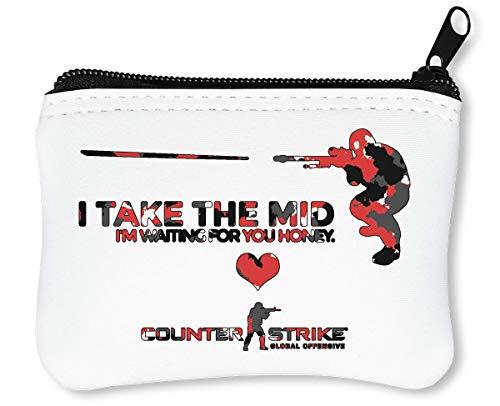 I Take The Mid | Video Game Series | Osom Action | Cool T Shirt | Nice to | Super | First Person Shooter Reißverschluss-Geldbörse Brieftasche Geldbörse (Teamwork Videos)