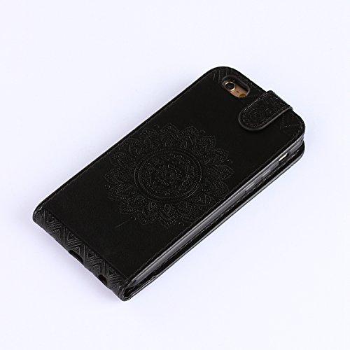 Étui en cuir PU pour Apple iPhone 7,Vertical Pliable Rabat Shell pour iPhone 7,iPhone 7 Flip Cover,Ekakashop Etui avec Motif de D'or Mandala Retro Tendance Style Portable Coque de Protection Magnétiqu Noir