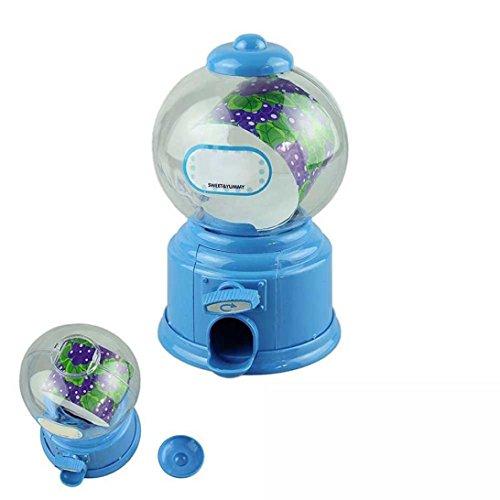 Stilvolle niedliche bunte Candy Jar, Y56Classic Vintage Double Bubble Gum Maschine Bank Candy Spender Gumball Spielzeug blau Double Bubble Gum