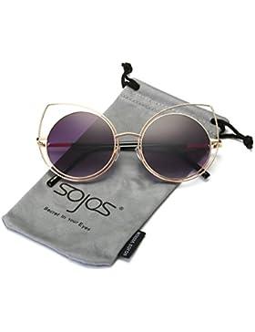 Sojos Gafas De Sol Mujer Marco Metal Ojo De Gato Lente Redonda SJ1046