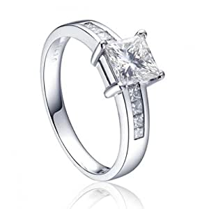 1 Carat Princess cut Diamond Engagement Ring in 10k White Gold