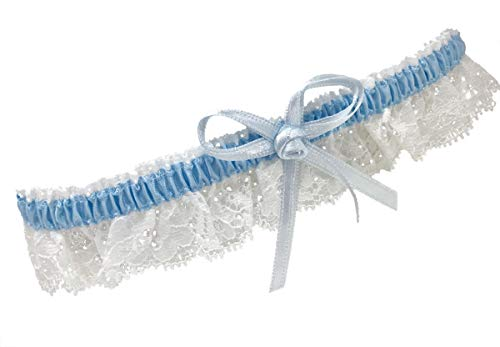 BrautChic Schmales ELEGANTES weißes Strumpfband für die Braut - Hochzeitsstrumpfband ETWAS BLAUES...