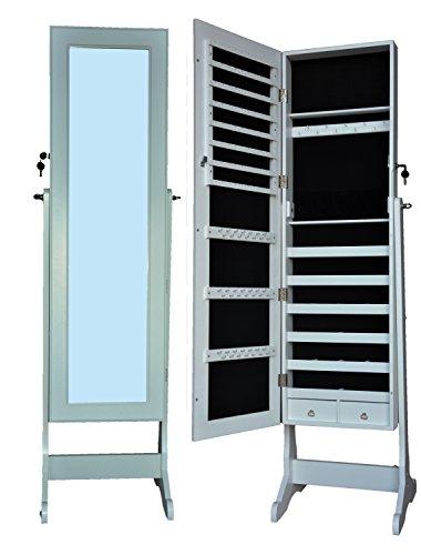 Eleganter Schmuckschrank Spiegelschrank Schmuckregal Schmuckkasten XXL 150cm Standspiegel Schmuckspiegel shabby chic