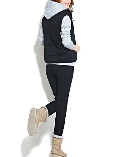 Donna Casual Felpa Con Cappuccio Cappotto Pullover Tuta Training Sportivo Giacca+Pantaloni+Gilet 3 Pezzi Come Immagine