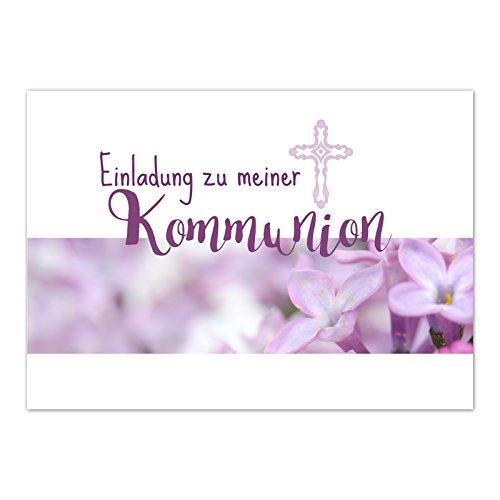 15 x Einladungskarten Kommunion mit Umschlag / Einladung für Mädchen mit rosa Blüten / Kommunionskarten / Einladungen zur Feier