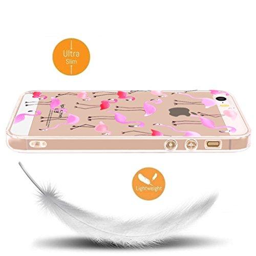 Custodia iPhone SE/5/5s [Pellicola Protettiva in Vetro Temperato], Yoowei® Design Colorato Cristallo Trasparente Ultra Sottile Morbido TPU Gel Case Cover per iPhone SE/5/5s 4.0 (Donuts) Fenicotteri