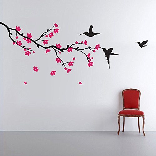 Decals Design 'Hummingbirds and Blossoms' Wall Sticker (PVC Vinyl, 50 cm x...