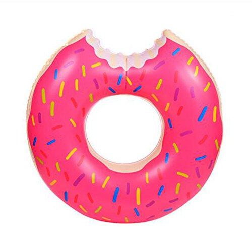 AOLVO Riesen-Donut Schwimmring, Schwimmreifen Luftmatratze 100CM, Floating-Ring | Aufblasbarer Donut mit Biss, Farbenfrohe Schwimmmatratze Schwimmring für Erwachsene Kinder Pool Party Strand