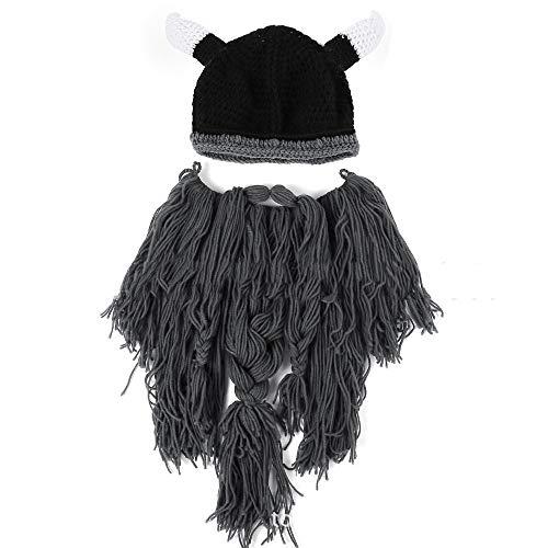 Jxth Handgemachte Strickmütze Unisex Lustiger Hut Weiche Viking Bart Schnurrbart Hörner Hut für Kostüm Cosplay Party Kostüme Zubehör (Farbe : Dark Gray Beard)