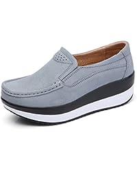 Gracosy Mocasines de Mujer Cuña de Cuero Plataforma Informal Zapatos de Gamuza Casuales Zapatos Cómodo Mocasines