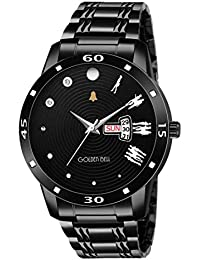 Golden Bell Enticer Day And Date Calender Function Black Dial Black Steel Chain Men's Watch - GB-1177
