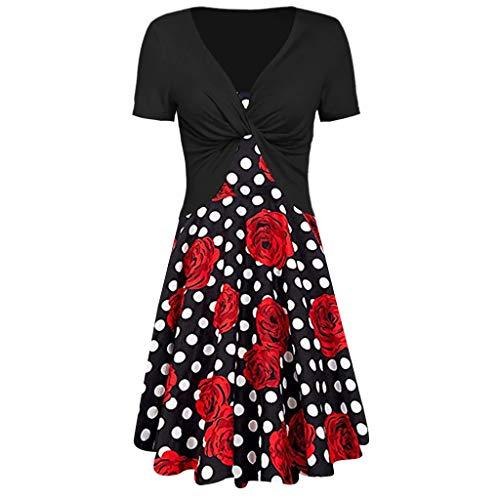 Polka Dot Pullover Kleid (Sunnywill Damen Sommer Elegant Festlich Lang Knielang Kleider Rose Polka Dot Print Sling Pullover Zweiteiliges Set)